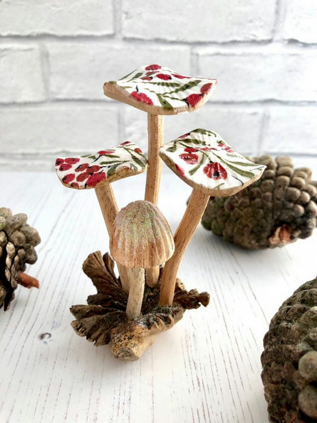 Hand Carved Festive Wooden Mushrooms