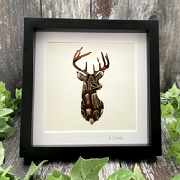 Natural Pheasant Feather Deer Framed Art - Stag Home Decor