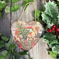 Christmas Dog Slate Heart Plaque