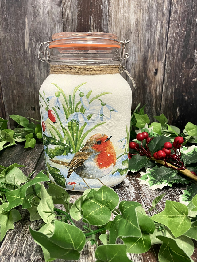 Large Glass Winter Robin Storage Jar