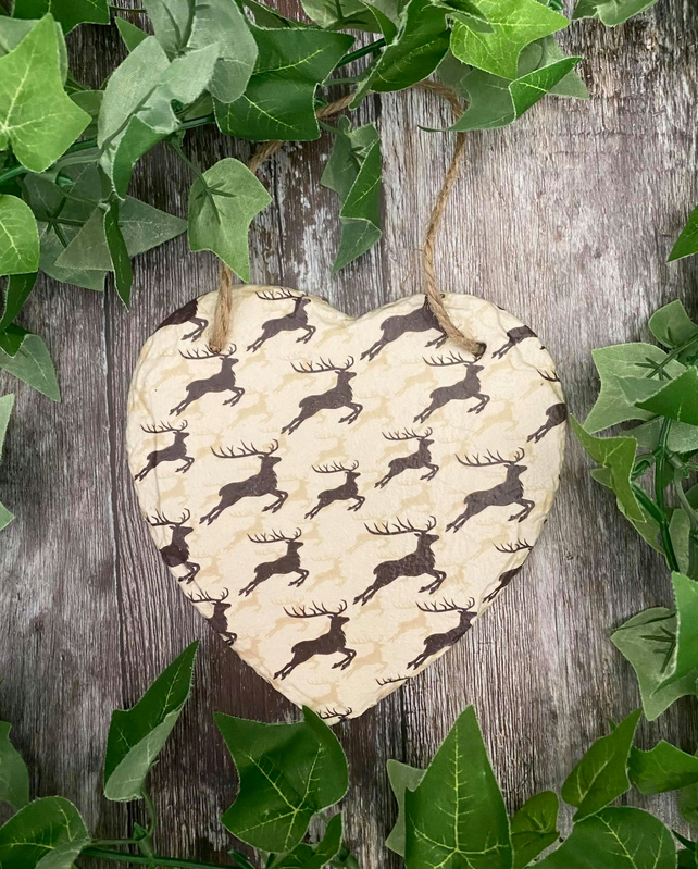 Dancing Stag Slate Heart Plaque