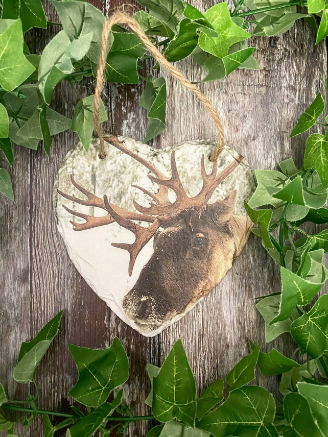 Reindeer Heart Slate Plaque