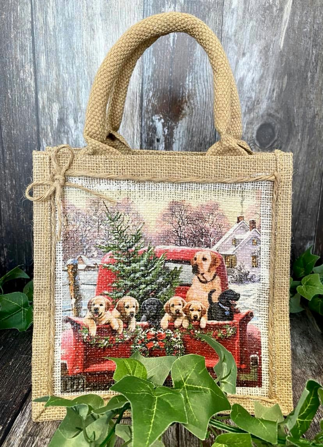 Cute Christmas Dog Jute Bag