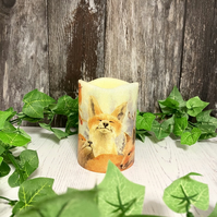 Cute Fox Family Flameless Candle