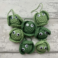Dark Green Crochet Brussel Sprout tree decoration