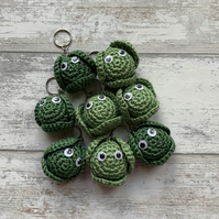 Dark Green Crochet Brussel Sprout Keyring
