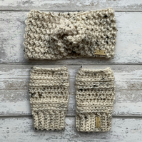 Handmade crochet ear warmer headband and wrist warmer set in cream tweed