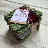 Set of 3 handmade reusable striped dishcloths made from 100% recycled cotton