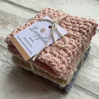 Set of 3 handmade reusable dishcloths made from 100% recycled cotton