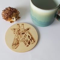 wooden giraffe coaster