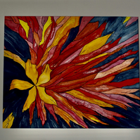 RED and YELLOW FLOWER ABSTRACT With CREAM MOUNT READY TO FRAME 15 X 18IN APPROX