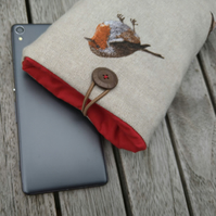 Phone or sunglasses cover with robins