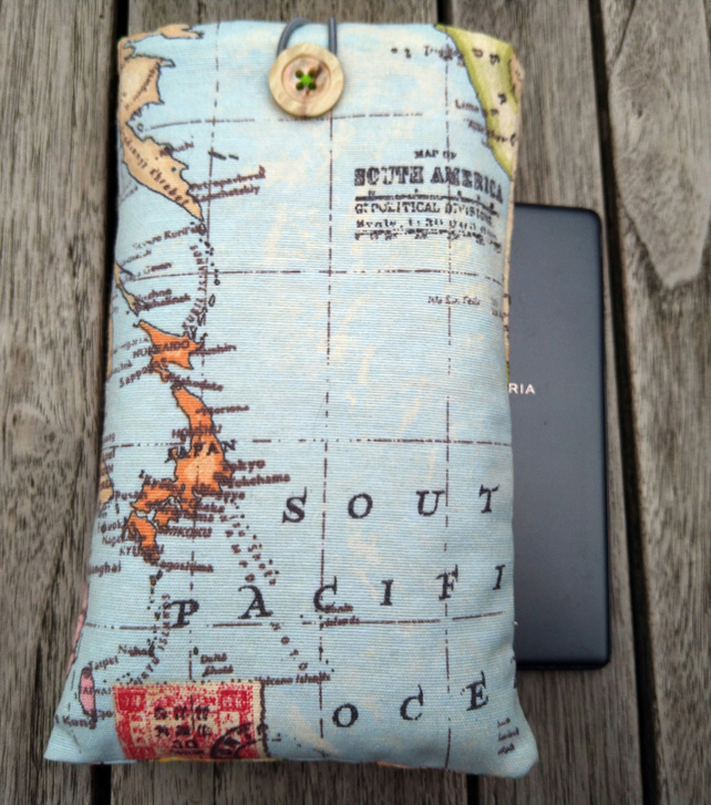 Phone or sunglasses cover world map
