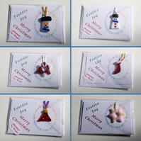 Trio of Hand-Made Christmas Cards with Fused Glass Hanger