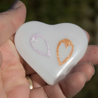 Two Hearts as One - Fused Glass Heart