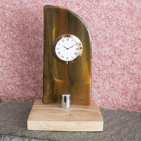 Fused Glass Clock - Brown with Gold Coloured Bezel