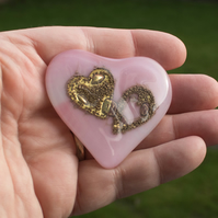 Two Hearts In One - Pink Glass Heart