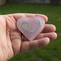 Three Hearts in One - Pink Glass Heart