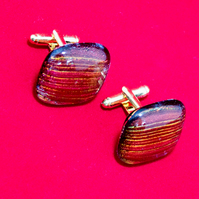 Red & Gold Coloured Glass Cuff-Links