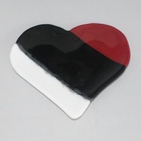 Heart Shaped Trinket Dish - Red, Black & White