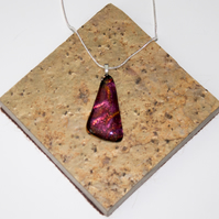 Red & Gold Coloured Triangular Glass Pendant Necklace