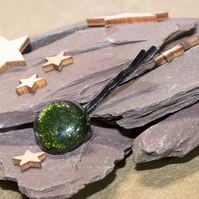 Green Sparkly Glass Bobby Pin