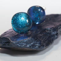 Sparkly Blue Dichroic Glass Earrings on Sterling Silver Studs