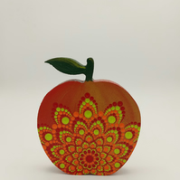 Wooden Apple with Mandala