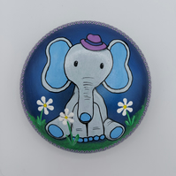 Hand Painted Baby Elephant  Decorative Stone