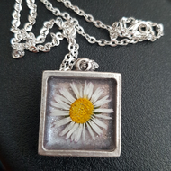 Real Flower in Resin and Silver Pendant