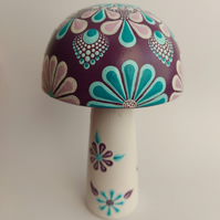 Floral Dot Painting on Wooden Mushroom Toadstool Ornament