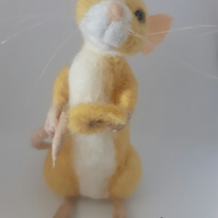 Needle Felted Dessert Rat - banana custard.
