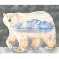 "Polar Bear Giclee Art Print - ""Nanuq. The ever-wandering one"""