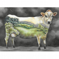 "Cow Landscape Art Print - ""Mother of us All"""
