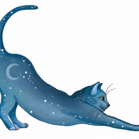 "Cat Art - Fun Giclee Print - ""Lunar Cat Stretching"""