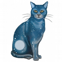 "Cat Art - Fun Giclee Print - ""Lunar Cat Sitting"""