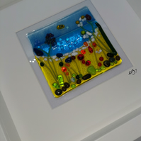 Fused glass wildflowers and sea theme