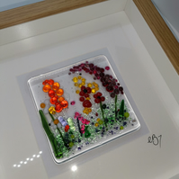 Fused Glass Wildflowers Art framed