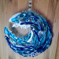 Fused glass wave suncatcher