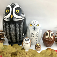 Owl hand painted wooden nesting dolls set of 5