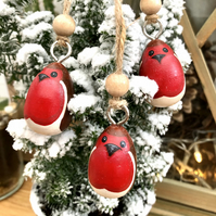 Robin small hanging decoration set of 3