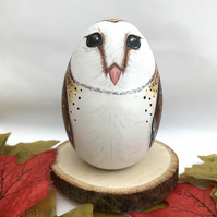 Barn owl hand painted wooden egg ornament