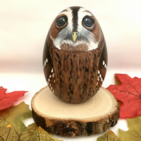 Tawny owl hand painted wooden egg ornament