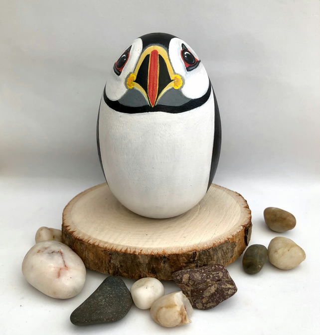 Puffin hand painted wooden egg ornament
