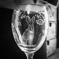 Hare and Holly Engraved wine glass