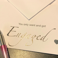 Simple Sentiment Message Cards, Engagement Card, Engaged, Unisex Card