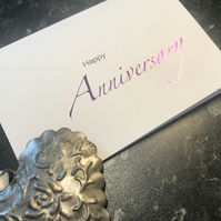 Happy Anniversary Card, Anniversary Wishes, Card, Unisex, Foil Finished