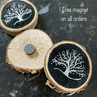 Natural Birch Woodslice hand-painted Silver Tree Magnet - Fridge Magnet
