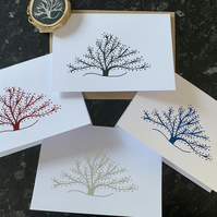 Handmade A6 Seasonal Tree General Everyday Cards - Pack of 4 - FREE MAGNET
