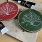 Big Natural Wood Slice, Decorative Slice, Gift - Silver Tree - Red or Green